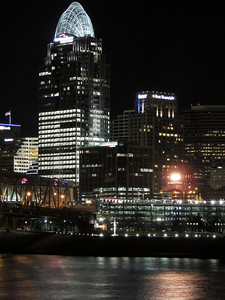 EXTREME CLOSE UP OF DOWNTOWN CINCINNATI AT NIGHT