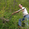 Jim grabbing said rattlesnake by the tail.  He thinks he'll be safer if he keeps his eyes closed.