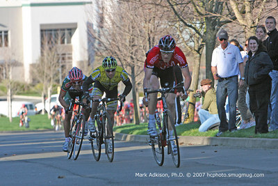 8956 Vitoria, Wohlberg and Artacho near the finish as BMCs Charlie Livermore, in white shirt, looks on