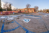 Panorama view of workers preparing the campus entrance for renovation on Dec. 7, 2010. (Photo illustration by Daniel Binkard/Chadron State College)