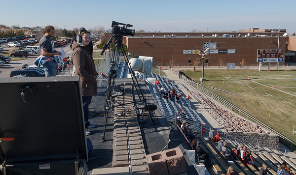Abigail Swanson, front, was one of several student workers who operated cameras and assisted with many aspects of CSC Live broadcasts at Chadron State College. Swanson is pictured along with student announcers Devin Fulton and Preston Goehring at the November 11, 2017, football game against Colorado State University-Pueblo. Con Marshall Press Box was torn down and rebuilt in 2017 and 2018 to better serve the college. (Photo by Daniel Binkard/Chadron State College)