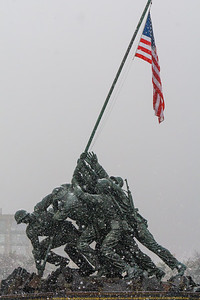 Marine Corps War Memorial in Snow