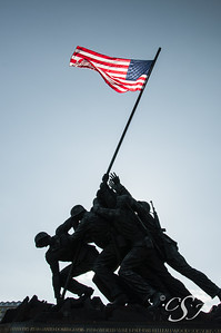 U.S.  Marine Corps War Memorial Waving Flag