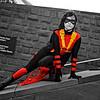 Cosplay, Cosplayer, Female, Comics, DC Comics, DC, New 52, Batman, Red Robin, Robin, Dick Grayson, Hero, Jump Suit, Pants, Top, Cloak, Robe, Boots, Mask, Bullets, Bullet Belt, Mask, Baton, Bat, Utility Belt, Black, Red, Gold, Yellow,