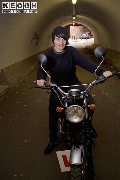 Manchester, Female, Motorbike, Jumper, T-Shirt, Hat, Jeans, Motorbike, Bike, Black, Grey, Silver, Crome, Tunnel,