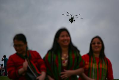 Marine One flies over Myanmar demonstrators in Washington, D.C.