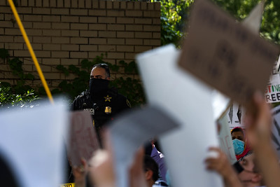 Demonstrators protest at the Embassy of Israel in Washington, D.C.