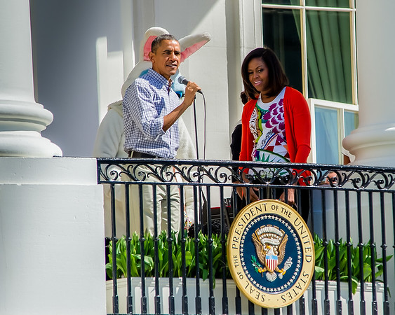 President Barack Obama and his wife Michelle address the crowd on a gorgeous day for the White House Easter Egg Roll.