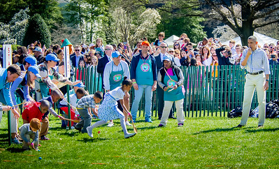 President Obama sounds the whistle for the White House Easter Egg Roll Off on the South Lawn.