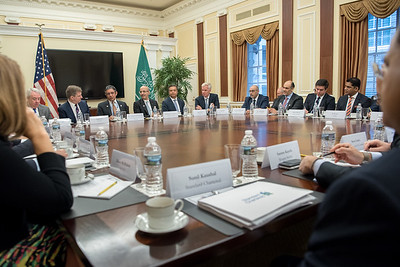 The U.S. Chamber of Commerce and U.S. Saudi Arabia Business Program hold a roundtable discussion at the Chamber of Commerce in Washington, DC on October 12, 2017.