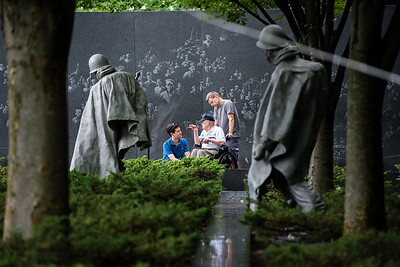 Wish of a Lifetime grants veterans a wish by taking them on a tour of monuments and memorials in Washington, DC - this one being the Korean War Memorial.