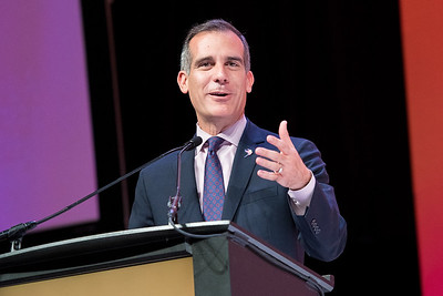 Los Angeles' Mayor Eric Garcetti leaves the crowd with some thoughtful messages at NRF's Shop.org at the LA Convention Center.