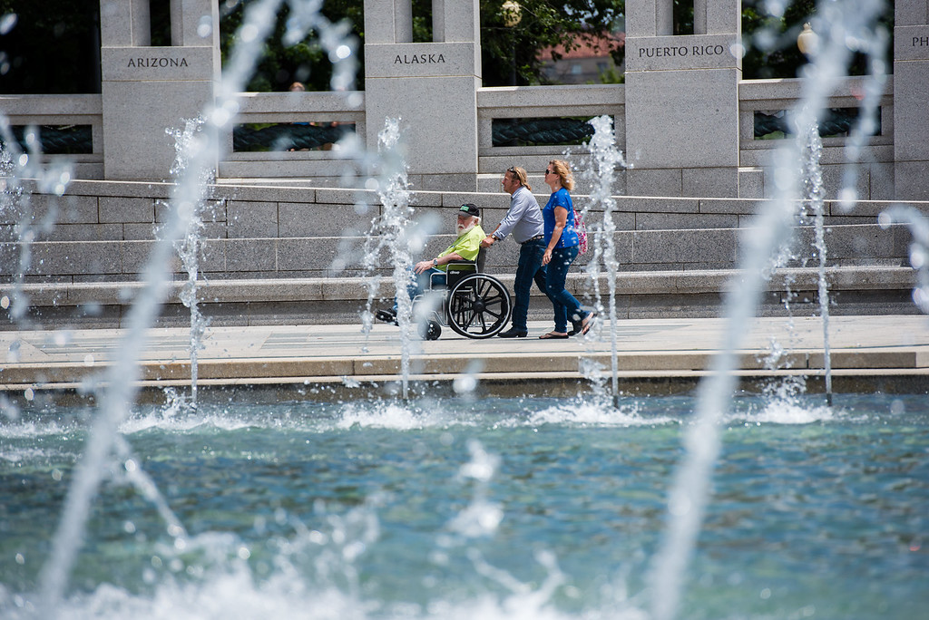 Wish of a Lifetime grants veterans a wish by taking them on a tour of monuments and memorials in Washington, DC - this one being the WWII Memorial.