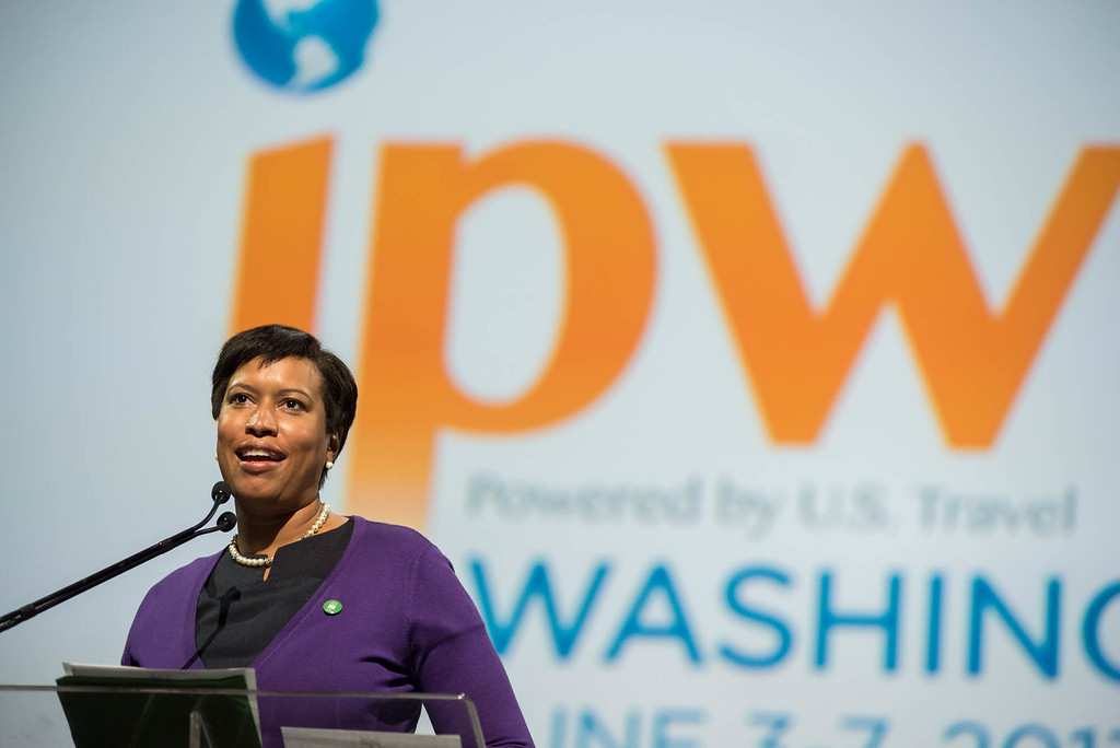 D.C. Mayor Muriel Bowser welcomes U.S. Travel's IPW conference at the Walter E. Washington Convention Center.