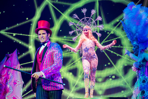 A colorful spectacle by Broadway performance artists.