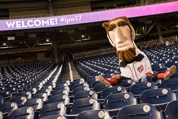 Mascot President Abe Lincoln poses at Nationals Park during IPW 2017.