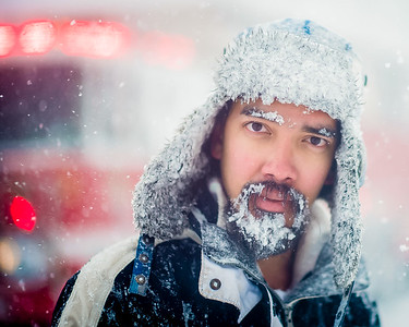 Walking 16th street in Washington, DC during a blizzard on January 24, 2016.