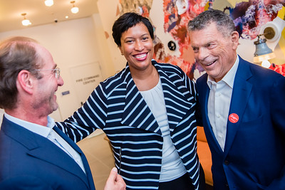 Washington, DC Mayor Muriel Bowser enjoys herself at the opening reception for POD Chinatown hotel, which was co-founded by Ian and Eric Hilton.
