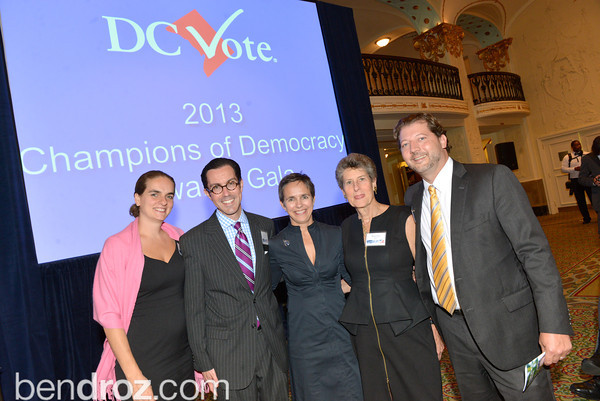 DC Vote hosts the annual Champions of Democracy Gala.  Mayor Vincent Gray, Congresswoman Eleanor Norton, Congressman Jose Serrano, DC Veterans and others were honored for their work for DC budget autonomy and Statehood. Karen Finney was the MC and Kimberly Perry lead the awards ceremony. Mayflower Hotel, Wednesday, October 9, 2013.  Photo by Ben Droz.