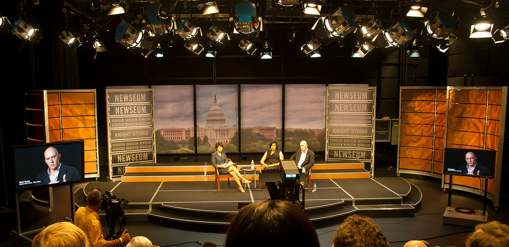 C-Span taping at Newseum of Sonya Ross, reporter on board Air Force One with Bush on 9/11 and Mark Faram, the first photographer on the scene at the Pentagon, talking about their experiences.