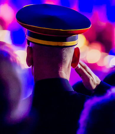 A soldier salute during the National Memorial Day Concert on the West Lawn of the Capitol.