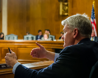 Senator Cassidy gestures at a Congressional Hearing at the Rayburn House Office Building on Capitol HIll.