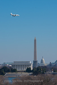Small jet over DC Memorials