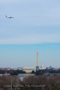 Air Canada Express over DC Memorials
