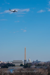 Jet Blue over DC Memorials