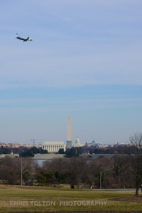 US Air Eagles Plane over DC Memorials