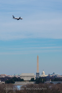 US Air Over DC Memorials