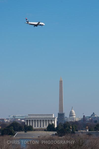 US Air over DC Memorials