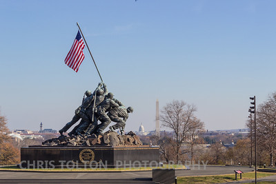 Iwo Jima Memorial Overlooking DC Monuments