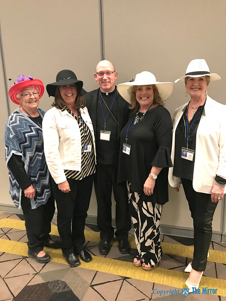 DioSCG @DioSCG • Apr 20<br /> Bishop is blessed among women … at the 60th annual DCCW convention in Cape Girardeau on Fri., April 20. He is pictured with ladies from New Hamburg.