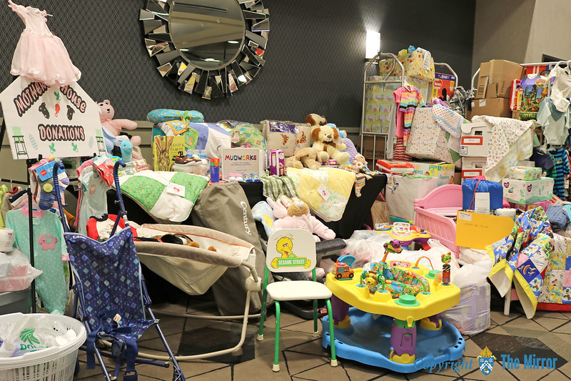 MOTHER'S HOUSE—Donations flooded in from the women of the diocese for Mother's House in Haiti, MO, filling two rooms of the Drury Convention Center in Cape Girardeau. (Photo by J.B. Kelly/<i>The Mirror</i>)