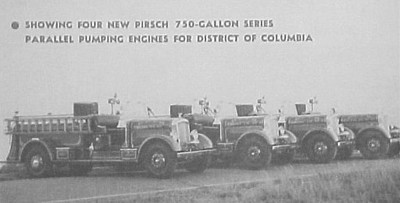 1936 Pirsch pumpers for DC. From left to right 1st - not numbered, 2nd - E1, 3rd - E7, 4th - E20. They were even equipped with roto-rays back then