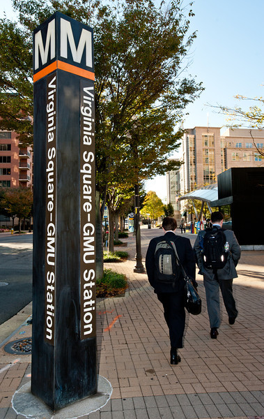 Arlington Campus, Virginia Square Metro sign. Photo by Alexis Glenn/Creative Services/George Mason University
