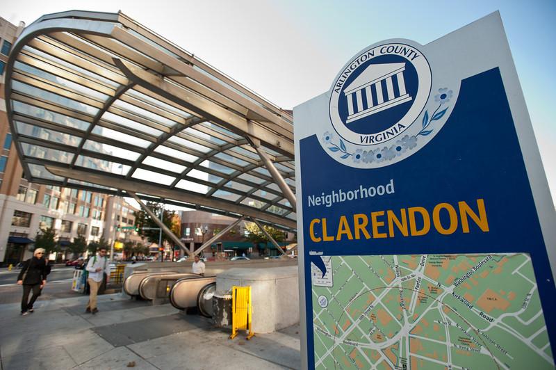 Arlington Campus, Clarendon Metro sign. Photo by Alexis Glenn/Creative Services/George Mason University