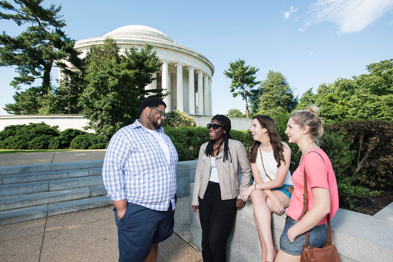 Students at Jefferson Memorial.  Photo by:  Ron Aira/Creative Services/George Mason University