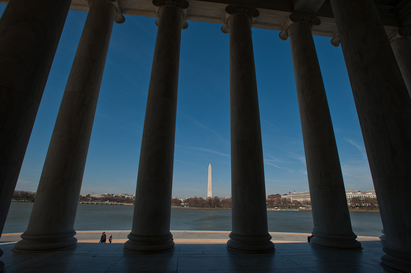 The Jefferson Memorial and the Washington Monument in Washington DC. Photo by Alexis Glenn/Creative Services/George Mason University