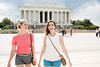 Students at Lincoln Memorial.  Photo by:  Ron Aira/Creative Services/George Mason University
