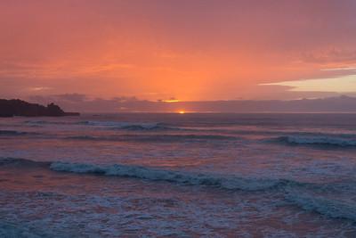 Sonnenuntergang beim Beach Hostel in Punakaiki