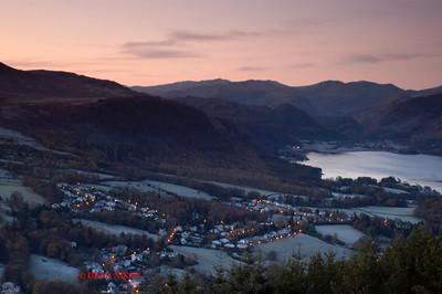 DECEMBER DAWN BREAKING OVER KESWICK AND DERWENTWATER FROM LATRIGG 0199