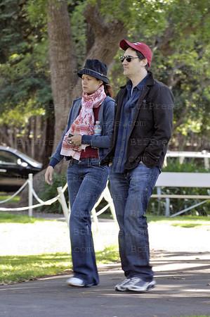 EXCLUSIVE IN THE BABY PARK- Debra Messing with her husband daniel Zelman and son Roman Walker Zelman.