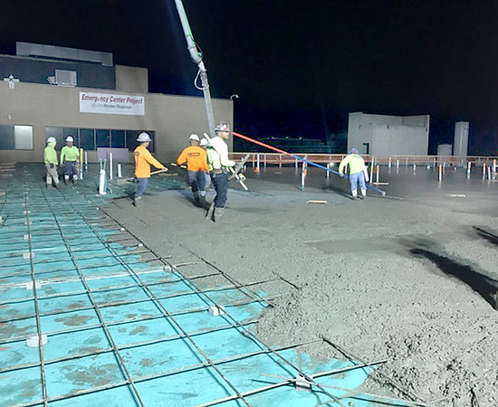 Submitted photo   <br /> Early morning hours work to pour the slab on the new MRHC Emergancy Center Project took place recently.