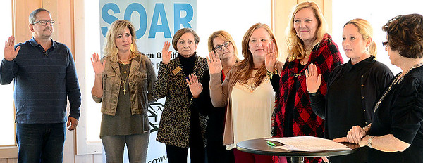 Kevin Harvison | Staff photo<br /> The Southeastern Oklahoma Association of Realtors named the 2018 Officers and Directors. Pictured far right, Margaret Barton, of Ada swears in new President, Shelly Howard, Lori Bell, past president, Terry Franklin, secretary, Shirley Donaldson, treasurer, Lori Bell, state director, Tammy McCullar, director, Pamela Cross, director, Bill Chaney, director and Gerald Monte, affiliate council.