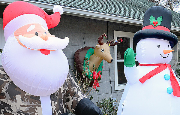Kevin Harvison | Staff photo<br /> This unique Holiday display is one of many Christmas theamed decorations around McAlester.