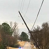 ADRIAN O'HANLON lll | <br /> Storms Monday caused damage, including a roof being blown off and left around 343 households without power as of 9:11 p.m. Linemen with Kiamichi Electric Cooperative worked to restore power on East Adamson Road just west of Adamson.
