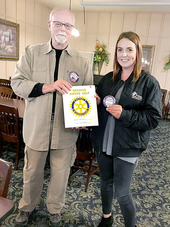 Submitted photo | <br /> Pictured from left, McAlester Rotary Club President Jim Henley welcomed the newest member Cheyenne Dollins during a recent club meeting.