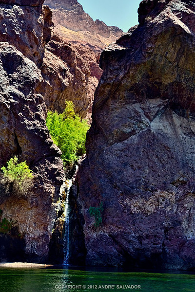 A small waterfall spotted at Black Canyon area of Colorado River, Arizona.